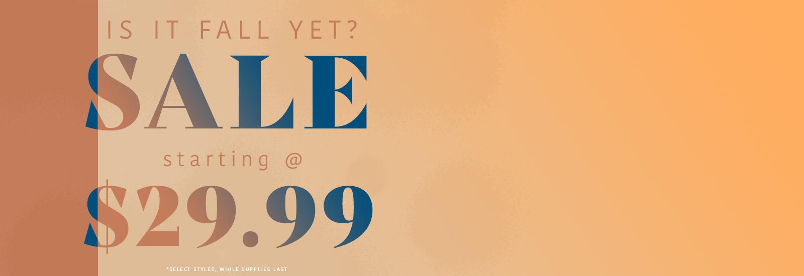 Sale starting at $29.99