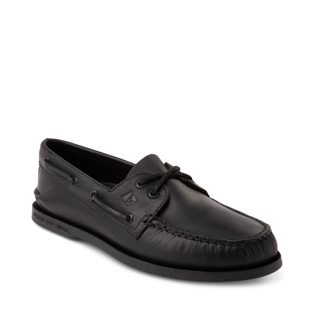 NEW Mens Sperry Top-Sider Black Black Leather Authentic Original Boat Shoes