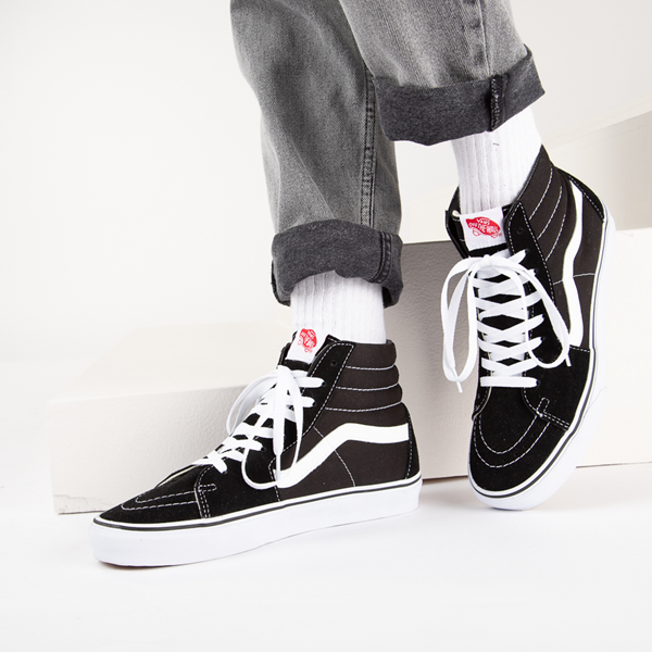alternate view Vans Sk8 Hi Skate Shoe - Black / WhiteB-LIFESTYLE1