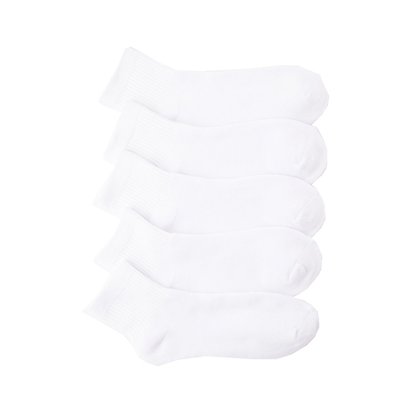 Main view of Mens Quarter Socks 5 Pack - White