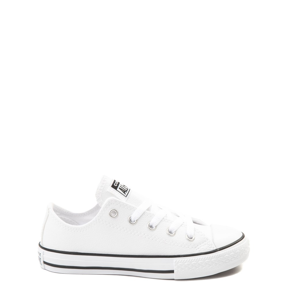 Converse Chuck Taylor All Star Lo Leather Sneaker - Little Kid - White