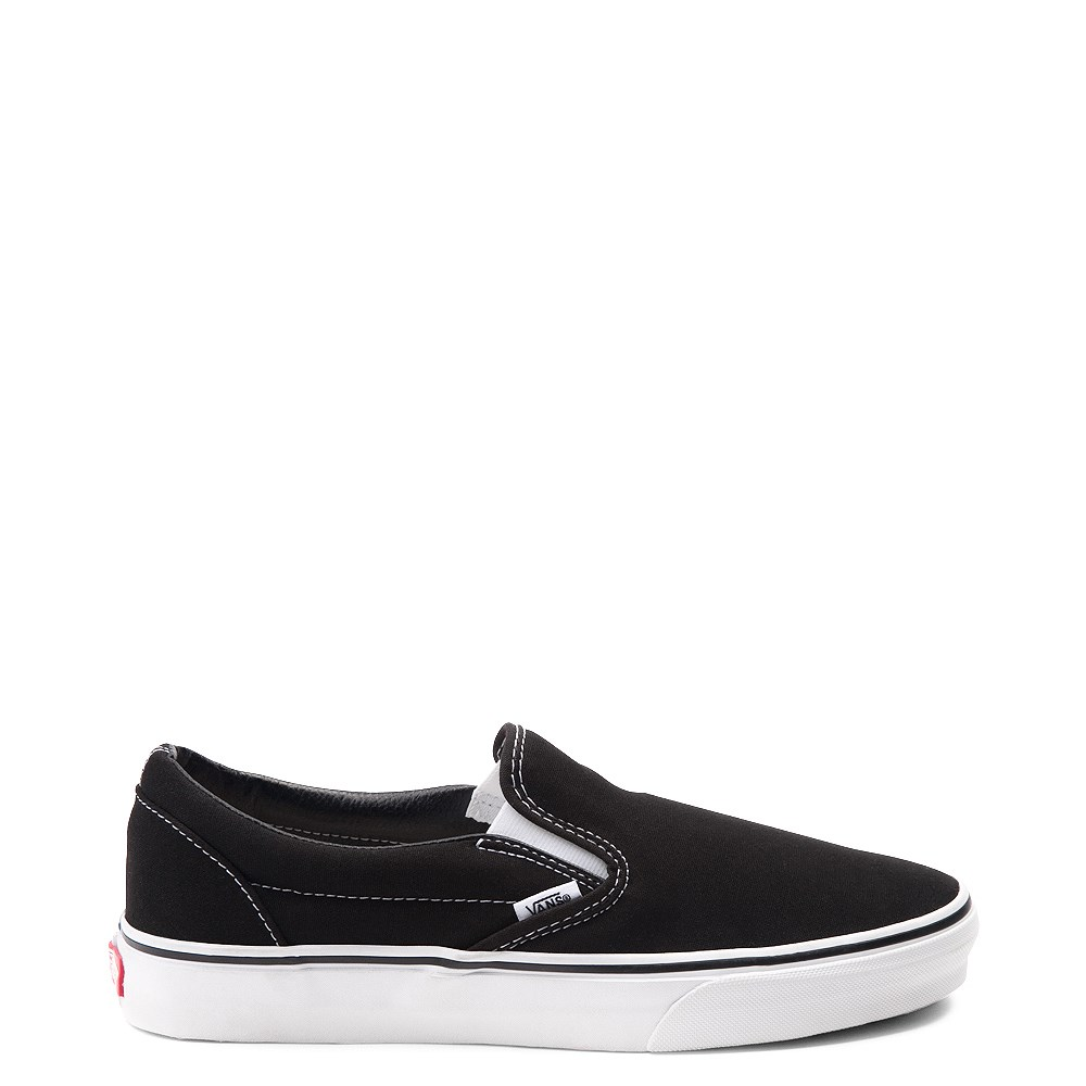 all black slip on vans leather
