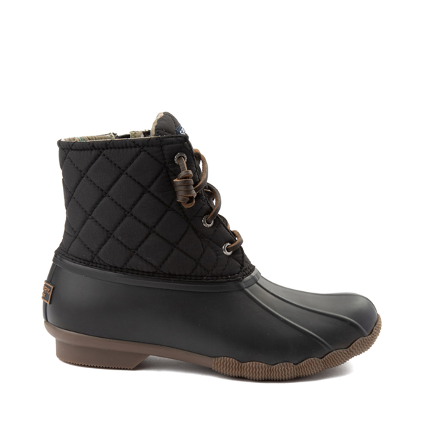 Main view of Womens Sperry Top-Sider Saltwater Quilted Nylon Duck Boot - Black