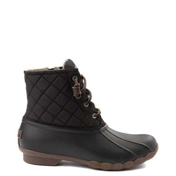 Womens Sperry Top-Sider Saltwater Quilted Nylon Duck Boot - Black