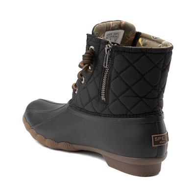 Alternate view of Womens Sperry Top-Sider Saltwater Quilted Nylon Duck Boot - Black