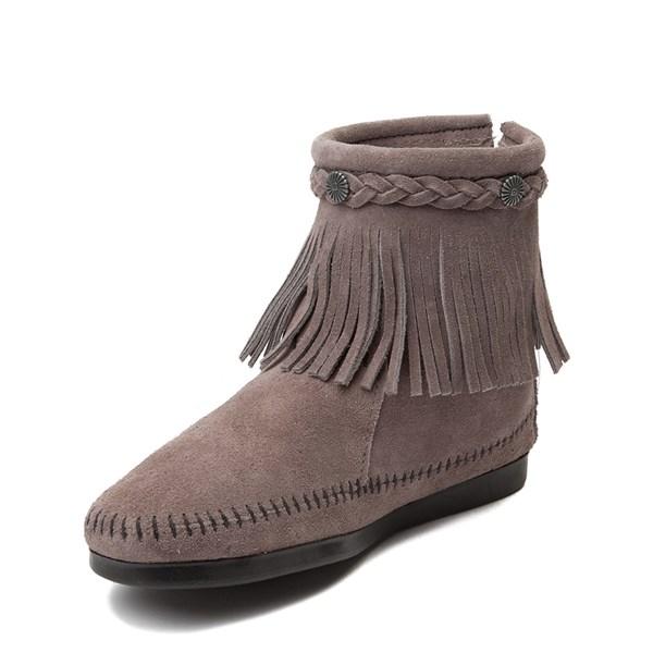 alternate view Womens Minnetonka Back Zip Boot - GrayALT3
