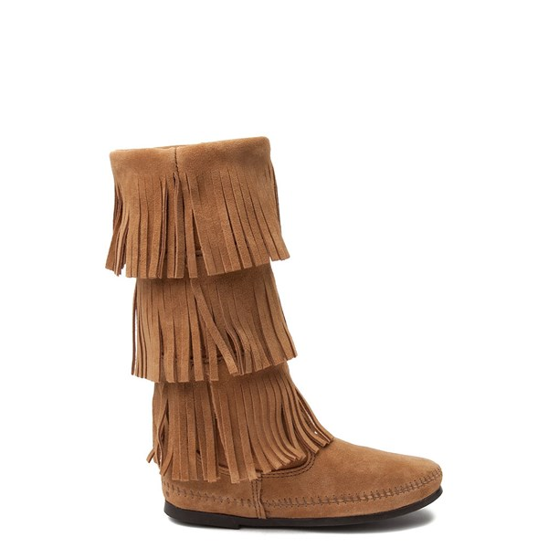 Womens Minnetonka 3 Layer Fringe Boot - Taupe