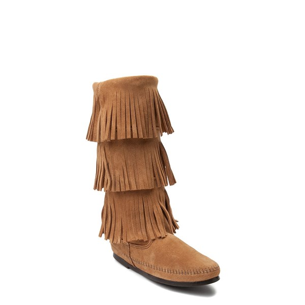 alternate view Womens Minnetonka 3 Layer Fringe Boot - TaupeALT1