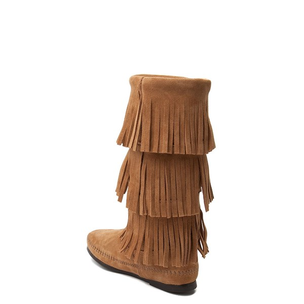 alternate view Womens Minnetonka 3 Layer Fringe Boot - TaupeALT2