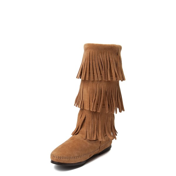 alternate view Womens Minnetonka 3 Layer Fringe Boot - TaupeALT3