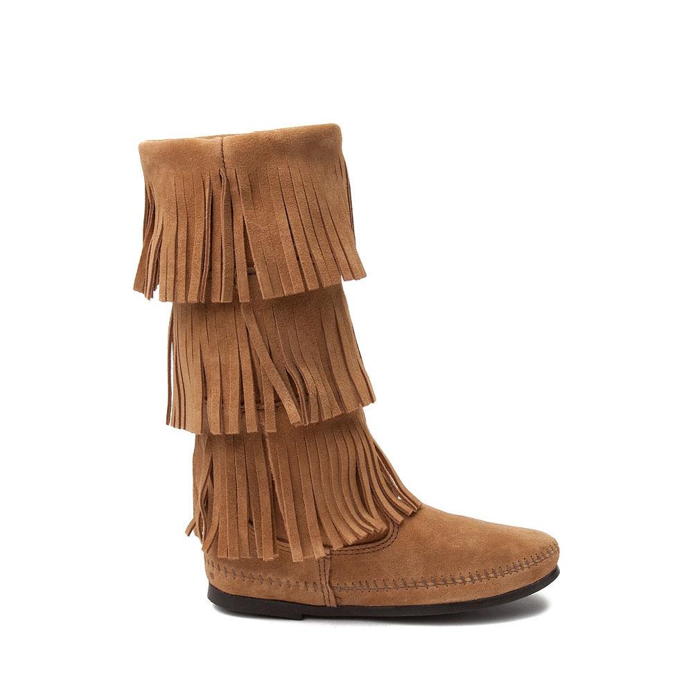 Womens Minnetonka 3 Layer Fringe Boot - Taupe
