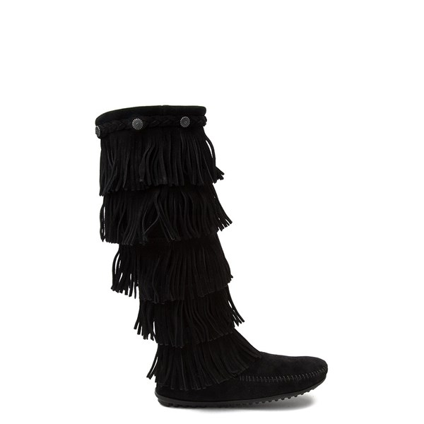 Womens Minnetonka 5 Layer Fringe Boot - Black