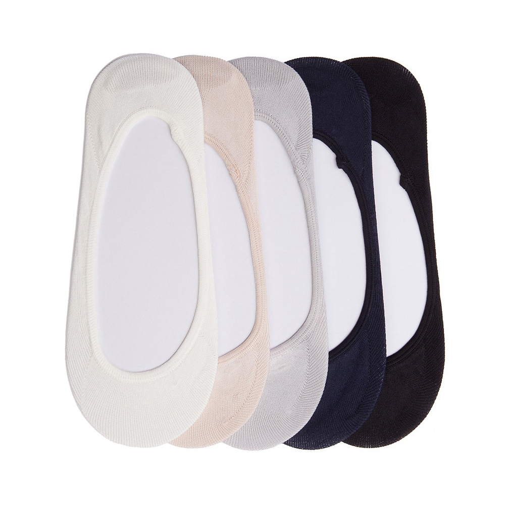 Womens Seamless Super Low Liners 5 Pack - Black / White