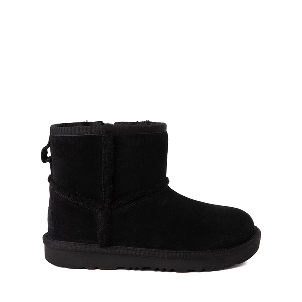 Main view of UGG® Classic Mini Fluff Spill Seam Boot - Little Kid / Big Kid - Black
