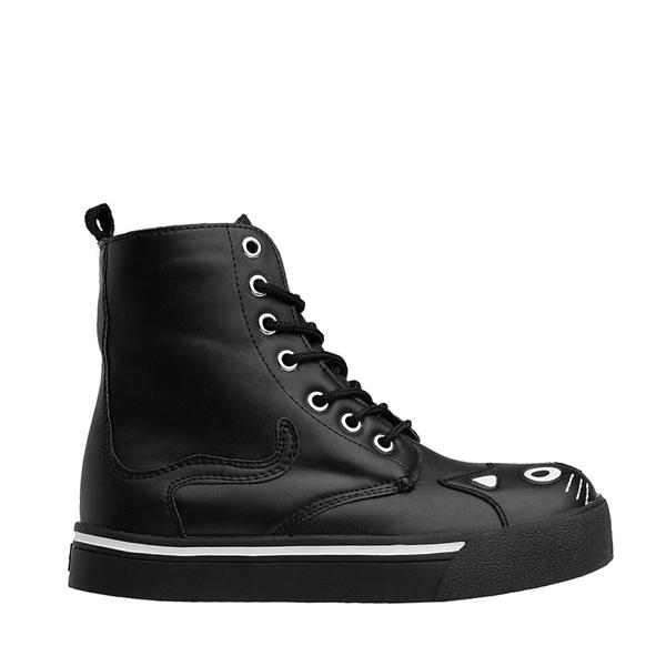 Main view of Womens T.U.K. Kitty Sneaker Boot - Black / White