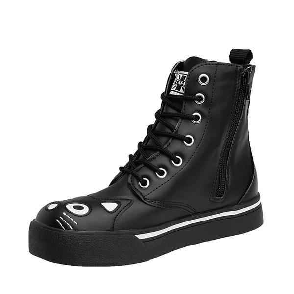 alternate view Womens T.U.K. Kitty Sneaker Boot - Black / WhiteALT2