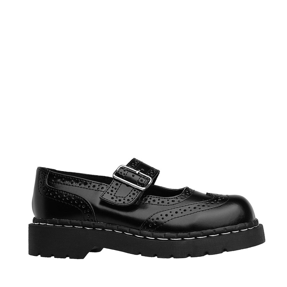 Womens T.U.K. Brogue Mary Jane Casual Shoe - Black