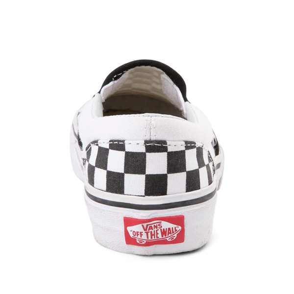alternate view Vans Slip On Checkerboard Skate Shoe - Little Kid / Big Kid - Black / WhiteALT4