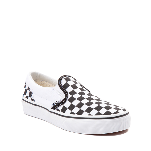alternate view Vans Slip On Checkerboard Skate Shoe - Little Kid / Big Kid - Black / WhiteALT5