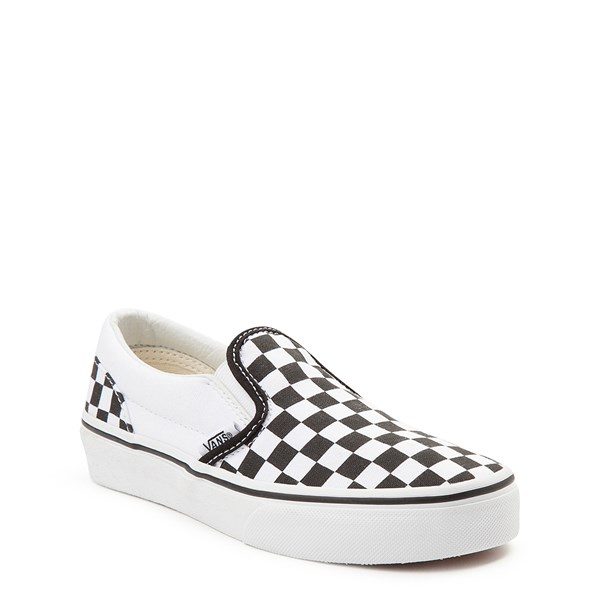 alternate view Vans Slip On Checkerboard Skate Shoe - Little Kid / Big Kid - Black / WhiteALT1