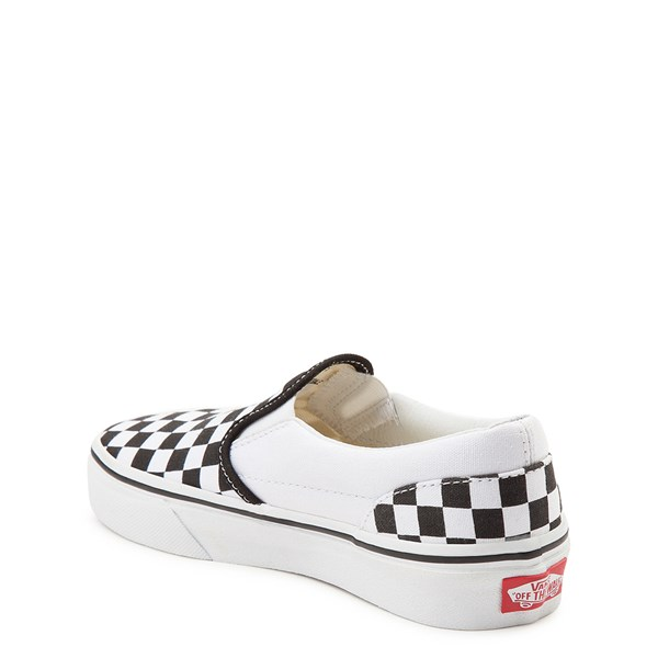 alternate view Vans Slip On Checkerboard Skate Shoe - Little Kid / Big Kid - Black / WhiteALT2