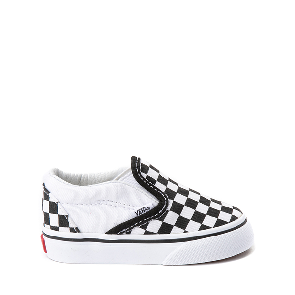 Main view of Vans Slip On Checkerboard Skate Shoe - Baby / Toddler - Black / White