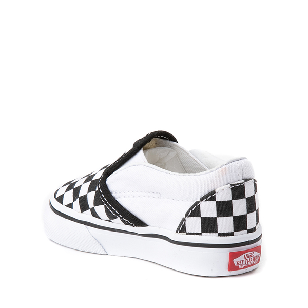 alternate view Vans Slip On Checkerboard Skate Shoe - Baby / Toddler - Black / WhiteALT1
