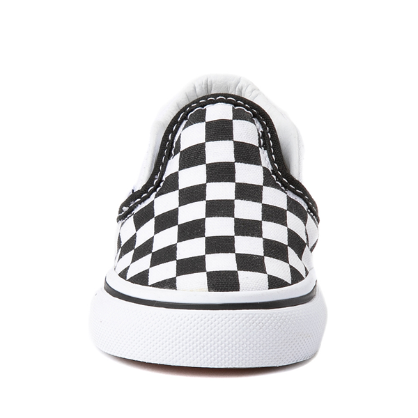 alternate view Vans Slip On Checkerboard Skate Shoe - Baby / Toddler - Black / WhiteALT4