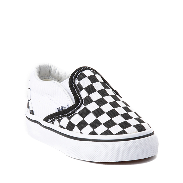 alternate view Vans Slip On Checkerboard Skate Shoe - Baby / Toddler - Black / WhiteALT5