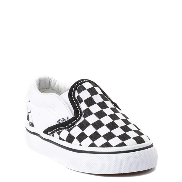 Alternate view of Vans Slip On Checkerboard Skate Shoe - Baby / Toddler - Black / White