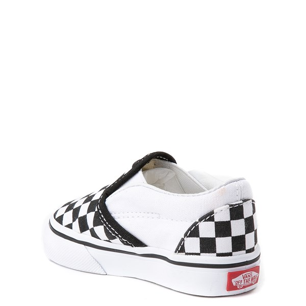 alternate view Vans Slip On Checkerboard Skate Shoe - Baby / Toddler - Black / WhiteALT2