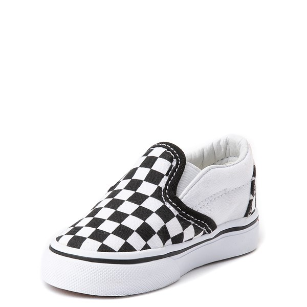 alternate view Vans Slip On Checkerboard Skate Shoe - Baby / Toddler - Black / WhiteALT3