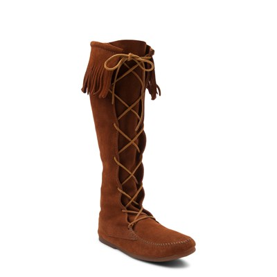 Alternate view of Mens Minnetonka Front Lace Knee High Boot - Brown