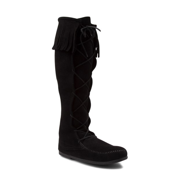alternate view Mens Minnetonka Front Lace Knee High Boot - BlackALT1