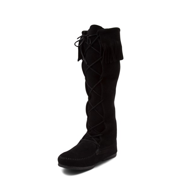 alternate view Mens Minnetonka Front Lace Knee High Boot - BlackALT3