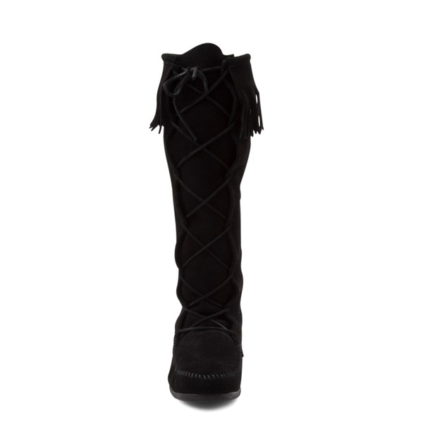 alternate view Mens Minnetonka Front Lace Knee High Boot - BlackALT4