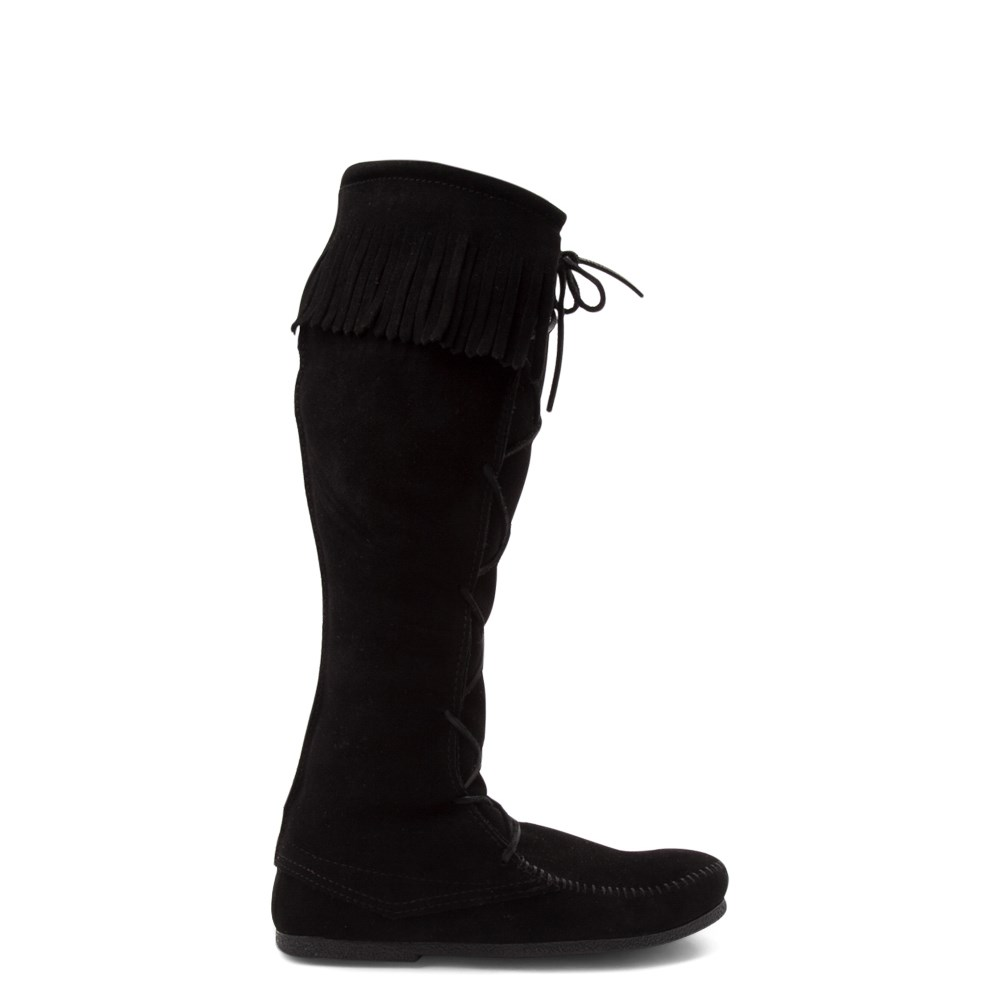 Mens Minnetonka Front Lace Knee High Boot - Black