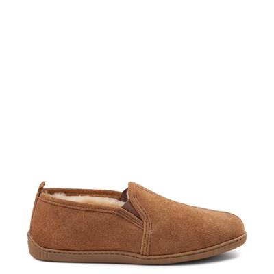 Main view of Mens Minnetonka Twin Gore Sheepskin Slipper - Tan