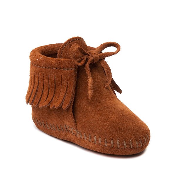 alternate view Minnetonka Fringe Bootie - Baby / Toddler - BrownALT5