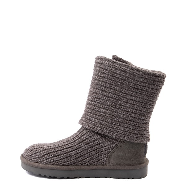 alternate view Womens UGG® Classic Cardy Knit Boot - CharcoalALT1