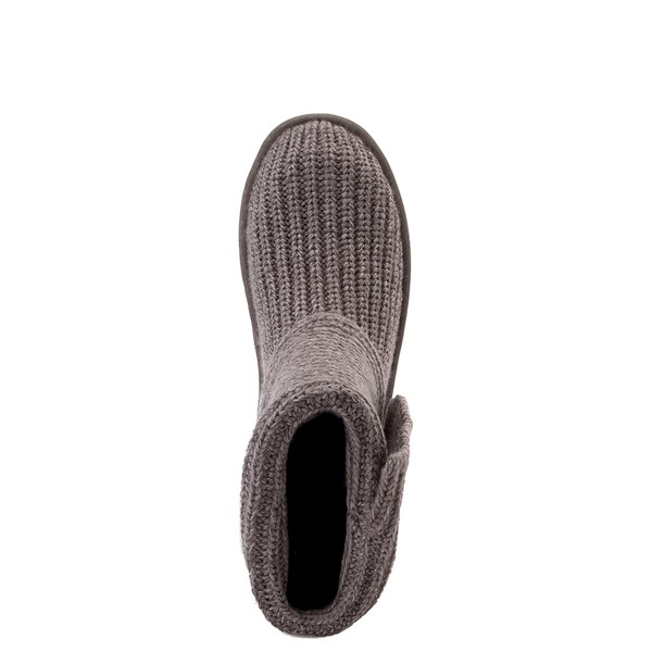 alternate view Womens UGG® Classic Cardy Knit Boot - CharcoalALT2