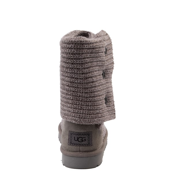 alternate view Womens UGG® Classic Cardy Knit Boot - CharcoalALT4