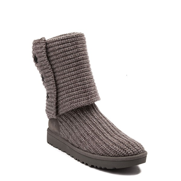 alternate view Womens UGG® Classic Cardy Knit Boot - CharcoalALT5