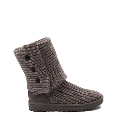 Main view of Womens UGG Classic Cardy Knit Boot in Gray