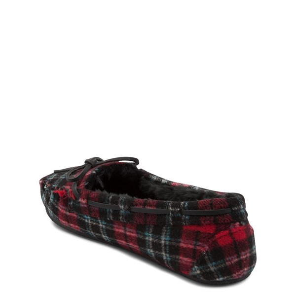 alternate view Womens Minnetonka Cally Plaid Slipper - Red / BlackALT2