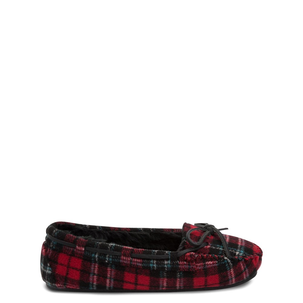 Womens Minnetonka Cally Plaid Slipper - Red / Black