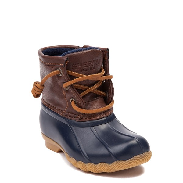 alternate view Sperry Top-Sider Saltwater Boot - Toddler / Little Kid - Navy / BrownALT1