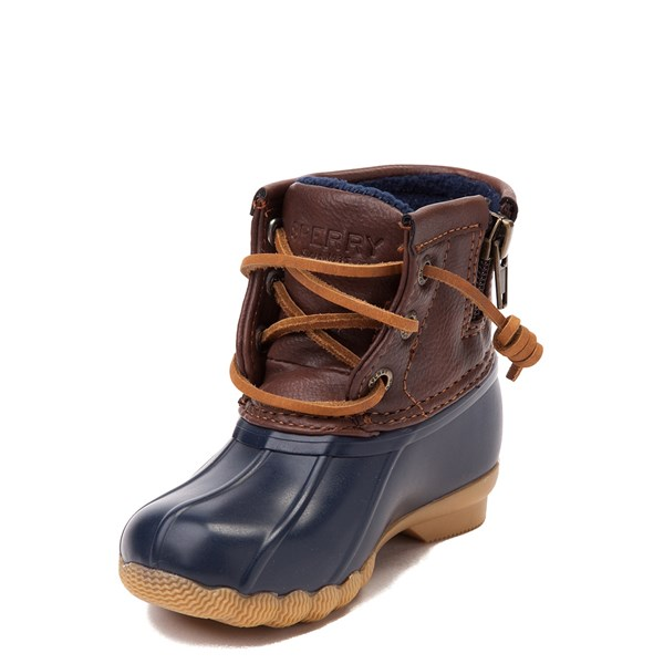 alternate view Sperry Top-Sider Saltwater Boot - Toddler / Little Kid - Navy / BrownALT3