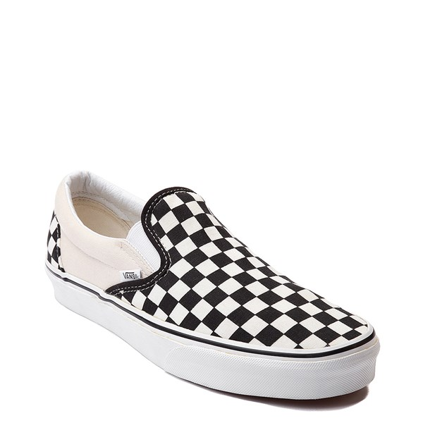 alternate view Vans Slip On Checkerboard Skate Shoe - Black / WhiteALT1