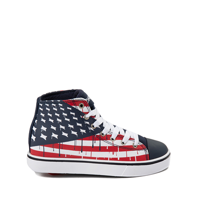 Main view of Mens Heelys Hustle Flag Skate Shoe - Red / White / Blue